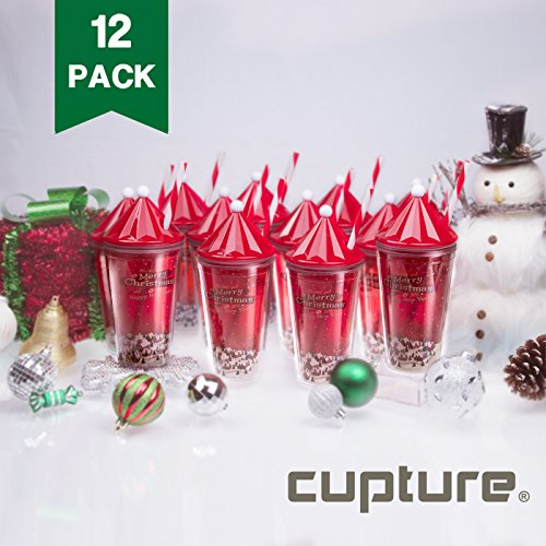 Cupture Holiday Christmas Tumbler Cup with Lid & Reusable Straw - 16 oz, 12 Pack (Holiday Theme) Themes For Christmas Gifts