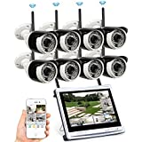 Security Camera System Wireless, Video Surveillance System with 8 HD 720P Indoor Outdoor Wireless IP Camera with 12 Inch LCD Monitor NVR No Hard Drive, Easy Remote View,Plug and Play, ARCECUT