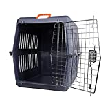Livebest Plastic Kennel Dark Blue Cat&dog Pet Carrier with a Steel-wire Front Door Sturdy and Roomy