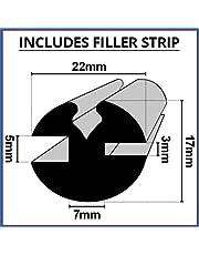 Claytonriet Rubber venster beglazing afdichting | 5mm x 3mm | Inclusief vulstrip | Gebruikt op auto's, boten, caravans en campers | CR001