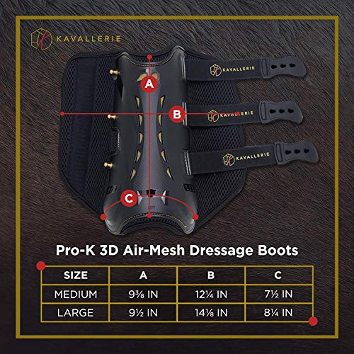 Dressage Boots for Horses by Kavallerie: Pro-K 3D Air-Mesh Horse Boots, Secure Leg Protection, Lightweight and Tough White & Black Dressage Sports Boots [Black] by Kavallerie (Image #5)