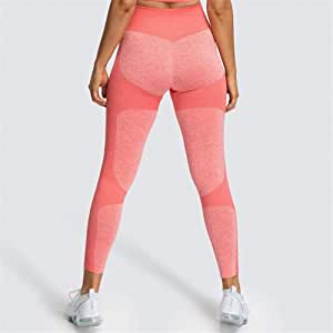 Jinqiuyuan Leggings for Fitness High Waist Yoga Leggings Tights Women WorkoutFitness Clothing Training Pants Female 6 Color (Color : Red, Size : M)