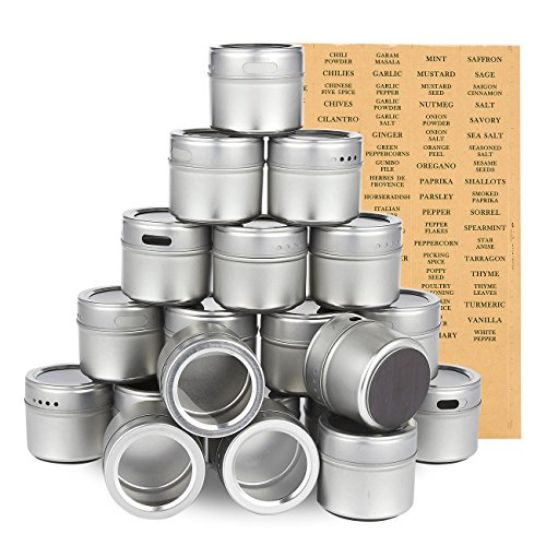 Juvale 20-Pack Magnetic Spice Containers - Storage Tins with Transparent Lids, Seasoning Organizers, Metal Spice Jars, Includes 94 Labelling Stickers - Holds 3.4 Oz ()