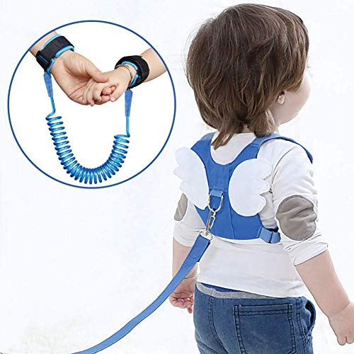 Child Anti Lost Safety Harness, Kid's Wrist Belt Racing Safety Harness Leash Assistant Strap Angel Wings (1 Pack, Blue) ()
