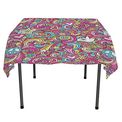 Tablecloth Clear Protector Psychedelic Groovy Peace Notebook Doodle Style Doves Education Swirly Starburst Image Outdoor Tablecloth Waterproof Spring/Summer/Party/Picnic 36 by 36