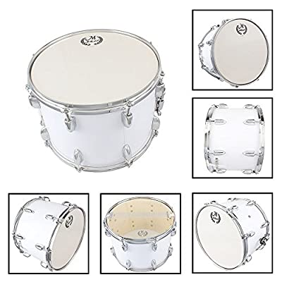 MBAT Student Marching Snare Drum Kids Percussion Kit White with Drumsticks Strap by MBAT
