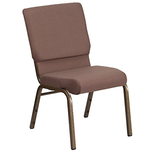 "18.5""W Stacking Church Chair in Brown Dot Fabric – Gold Vein Frame"
