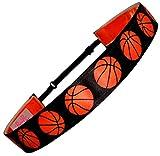 "Non Slip Adjustable Headband ""Basketball"" Girls Basketball Headband (Color Options) by RazzyRoo Headbands (Black)"