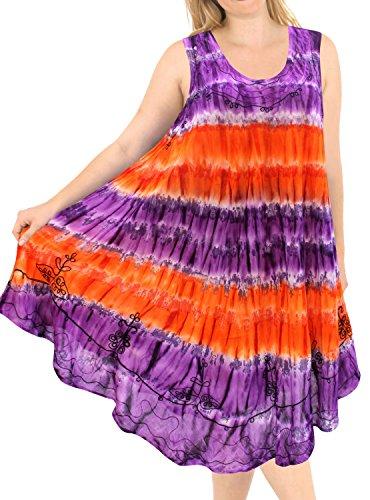LA LEELA Women Embroidered Tie Dye Swimwear Beach Dress Caftan Red|Purple US: 14-24W