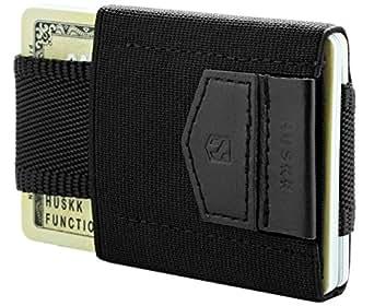 HUSKK Minimalist Slim Wallet - 10 Card Holders - Cash & Keys (Black)