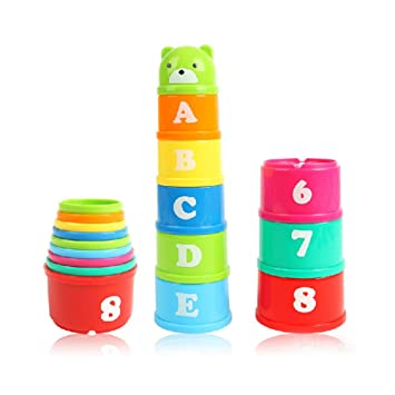Toys & Hobbies Children Arabic Numbers Letters Print Colorful Stacking Cups Plastic Toy Pretend Play