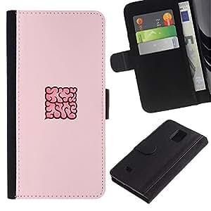 WonderWall Fondo De Pantalla Imagen Diseño Cuero Voltear Ranura Tarjeta Funda Carcasa Cover Skin Case Tapa Para Samsung Galaxy Note 4 SM-N910 - un 4 piezas nube rosa