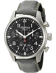 Alpina Mens AL-372B4S6 Startimer Pilot Chronograph Big Date Analog Display Swiss Quartz Black Watch