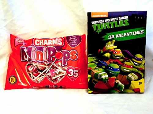 Valentine's Day Licensed Ninja Turtle Themed Card Box (32ct) with Lollipop (35ct) Party -