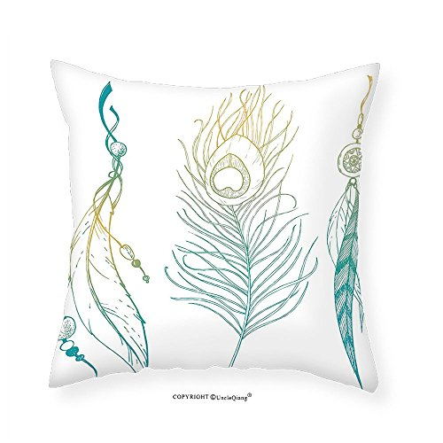 VROSELV Custom Cotton Linen Pillowcase Feather House Decor Aesthetic First Nations Feather and Peacock Tail Traditional Design for Bedroom Living Room Dorm Mint Yellow 14