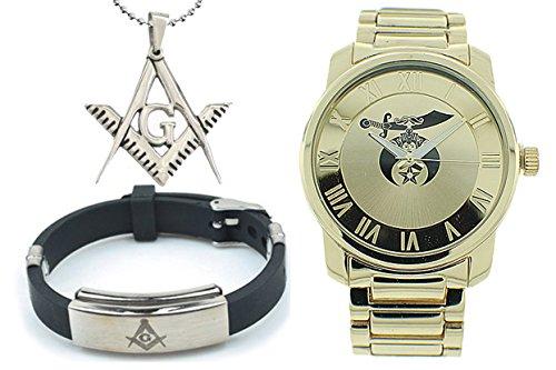 3 Piece Jewelry Set - Freemason Pendant, Bracelet & Shriners Watch. Masonic Symbol on Full Gold Color Steel Band & Face - For Freemasons