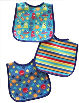 Neat Solutions 3 Pack Printed Interlock/ water resistant Feeder Bib, Boy from Neat Solutions