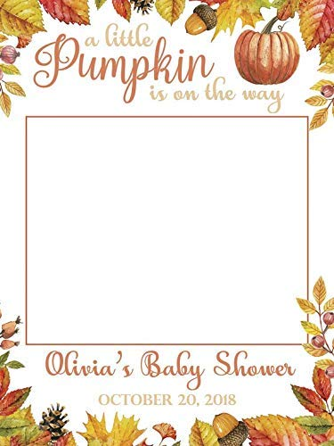 Fall Theme Baby Shower Selfie Fall Season Leaf Pumpkins Frame Photo Booth Props Halloween Signs Colorful Leaves Size 24x36, 48x36 Handmade DIY Party Supply Photo ()