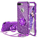 OCYCLONE iPhone 8 Plus Case, iPhone 7 Plus Case for Girl Women, Glitter Cute Girly Diamond Rhinestone Bumper with Ring Kickstand Protective Phone Case for iPhone 8 Plus / 7 Plus - Purple