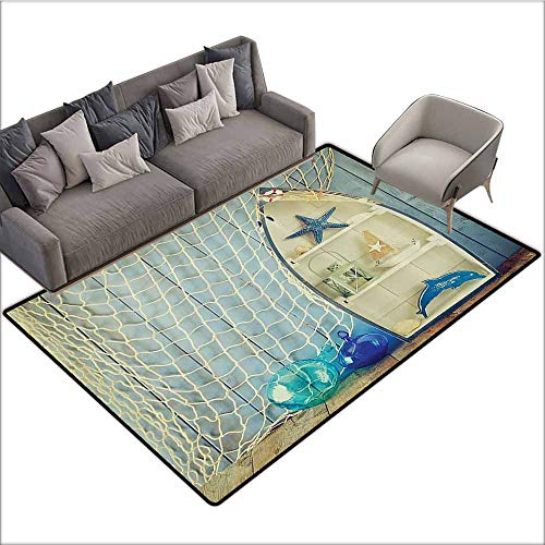 CUTE DESIGN ANTI-SLIP FLOOR MAT Colorful Blue Nautical,Boat Standing against the Wall with Other Aquatic Objects Bathroom Curtains Blue Sea Maritime Theme Picture,Blue Beige 48