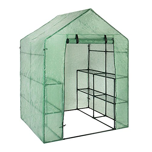 Green Portable Outdoor Heater (RondaFul-LYX Walk-in Greenhouse Plant Cover, Outdoor Portable Mini PE Grid Garden Cover for Flower/Grass/Potted plants Great Garden Decoration)