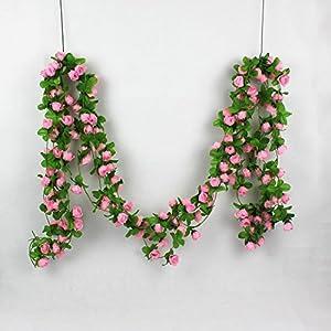 Colorfulife® 5pcs/lot Lifelike 2m Artificial Silk Mini Tea Buds Rose Flower Vine Rattan Cane Garland Ivy Plant Wedding Party Home Garden Decoration,4 Colors 8