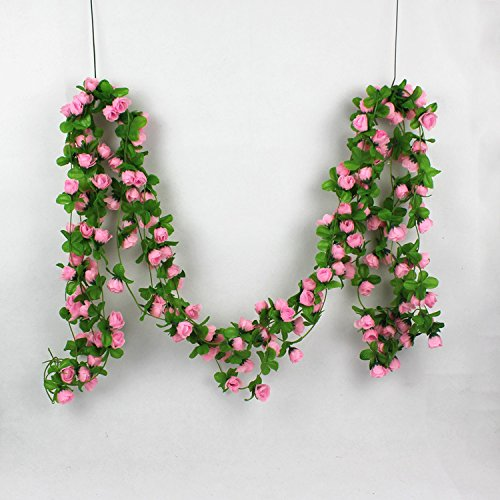 Colorfulife 5pcs/lot Lifelike 2m Artificial Silk Mini Tea Buds Rose Flower Vine Rattan Cane Garland Ivy Plant Wedding Party Home Garden Decoration,4 Colors ()