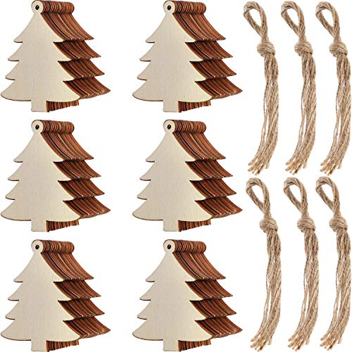 Sumind 60 Pieces Wooden Tree Embellishments Wood Christmas Tree Blanks with 60 Pieces Twines for Christmas DIY Craft Card Decor -