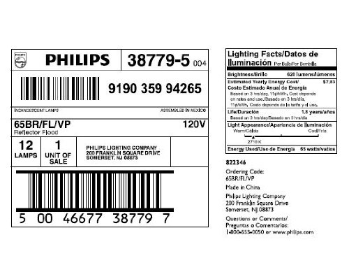 Philips BR40 Flood Light Bulb: 2710 Kelvin, 65-Watt, Soft White, E26 Medium Screw Base, 12-Pack