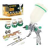 YaeTek HVLP Gravity Feed Air Spray Gun 3 Nozzles 1.4mm 1.7mm 2.0mm, 600cc Cup