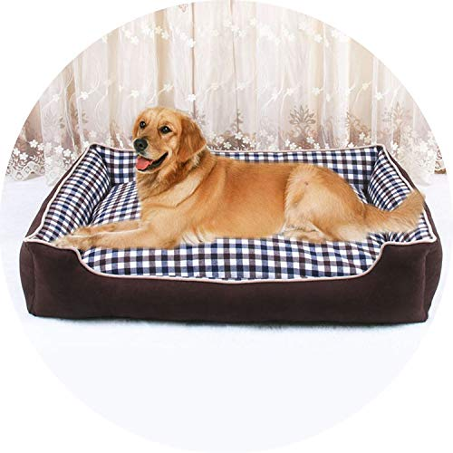 (colorful-space Pawstrip 4 Size Plaid Pet Dog Beds Winter Warm Large Dog Bed House Detachable Wash Puppy Cushion,Brown,XL)
