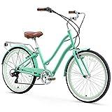 sixthreezero EVRYjourney Women's 7-Speed Step-Through Hybrid Cruiser Bicycle, Teal w/ White Seat/Grips