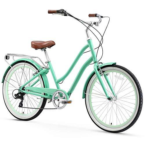 sixthreezero EVRYjourney Women's 7-Speed Step-Through Hybrid Cruiser Bicycle, Mint Green w/Brown Seat/Grips, 26