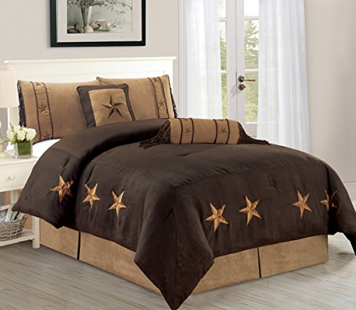 (Cabin 6-Piece Star Comforter Set Over Sized Bedding Brown (Queen))