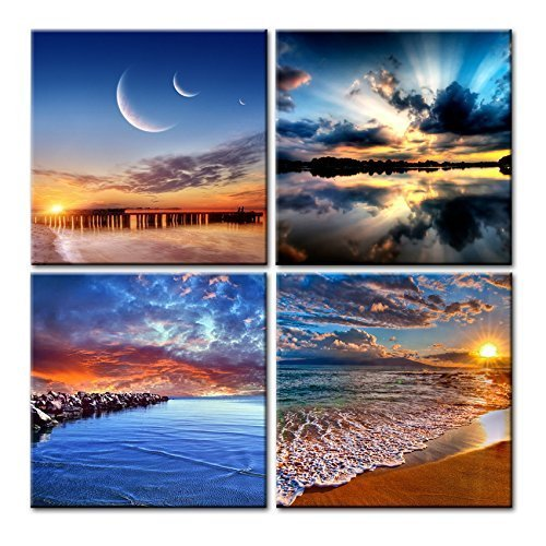 Phoenix Decor-Canvas Print,Giclee Artwork, Stretched and Framed, Paintings on Canvas Modern Lanscape Wall Art for Home and Office Decorations GF038 (12x12inchx4pcs) ()