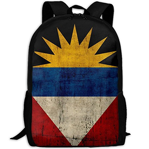 Retro Antigua And Barbuda Flag Adult Travel Backpack School Casual Daypack Oxford Outdoor Laptop Bag College Computer Shoulder Bags