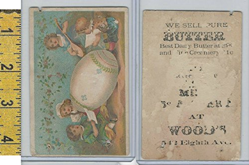 Victorian Card, 1890's, Woods Butter Store, New York, Children Painted - York New Stores Kids