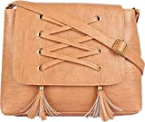 TYPIFY Leatherette PU Tassel Cross Sling bag for Women and Girls College Office Bag, Stylish latest Designer Spacious Cross Body Bag Purse with Sling Belt. Gift for Her (Tan)