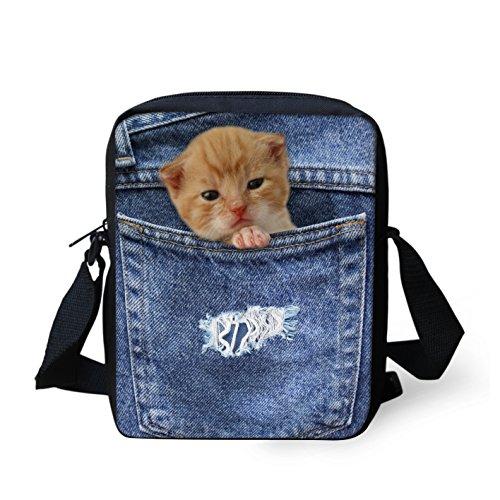 HUGSIDEA - Cartera de mano con asa para mujer Azul Pocket Dog 3 Small Pocket Cat