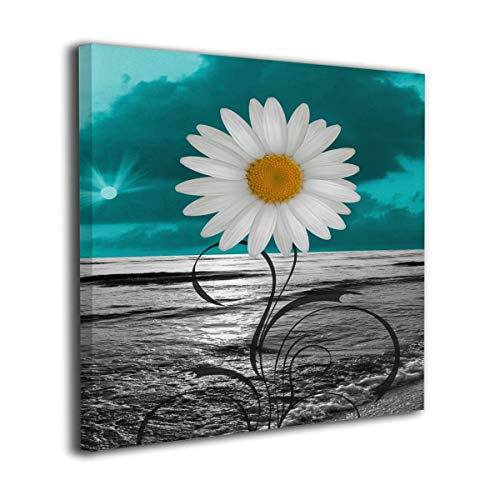 Kingsleyton Teal Blue Grey Ocean Daisy Flower Giclee Picture Print Canvas Wall Art Modern Giclee Artwork Home Decor Stretched and Framed Ready to Hang Wall Decoration 12