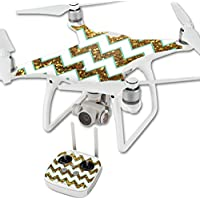 MightySkins Protective Vinyl Skin Decal for DJI Phantom 4 Quadcopter Drone wrap cover sticker skins Glitter Chevron