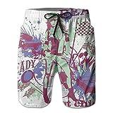 Mens Hot Girl Hawaiian Shorts Drawstring Quick Dry Board Shorts