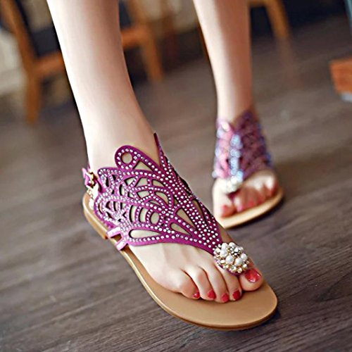 Price comparison product image Teen Girl Rhinestone Flat Sandals Low Bottom Flip Flop Shoes Party Sandals Slippers Hemlock (US:5.5,  Purple)