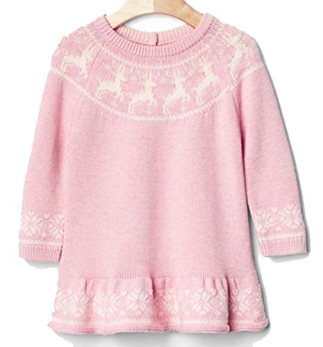 baby-gap-pink-deer-reindeer-snowflake-peplum-sweater-dress-3-6-months