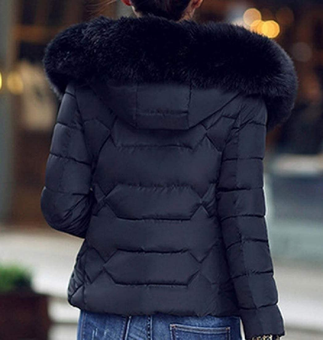 YUNY Womens Faux-Fur Trim Outwear Hooded Warm Cotton Wadded Jacket Black XS