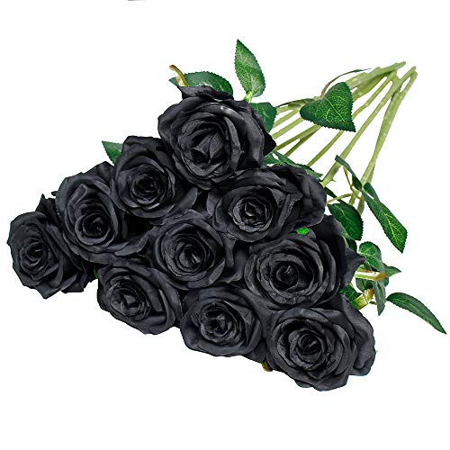 Nubry 10pcs Artificial Silk Rose Flower Bouquet Lifelike Fake Rose for Wedding Home Party Decoration Event Gift (Black) (Black Roses Bouquet Flowers)