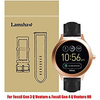 Lamshaw Leather Strap Replacement Band for Fossil Q Venture/Fossil Gen 4 Q Venture HR Smartwatch Strap (Leather- Black)