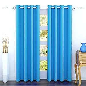 Story at Home2 Piece Nature Collection Solid Pattern Polyester Eyelet Door Curtain - 7 ft., Light Blue