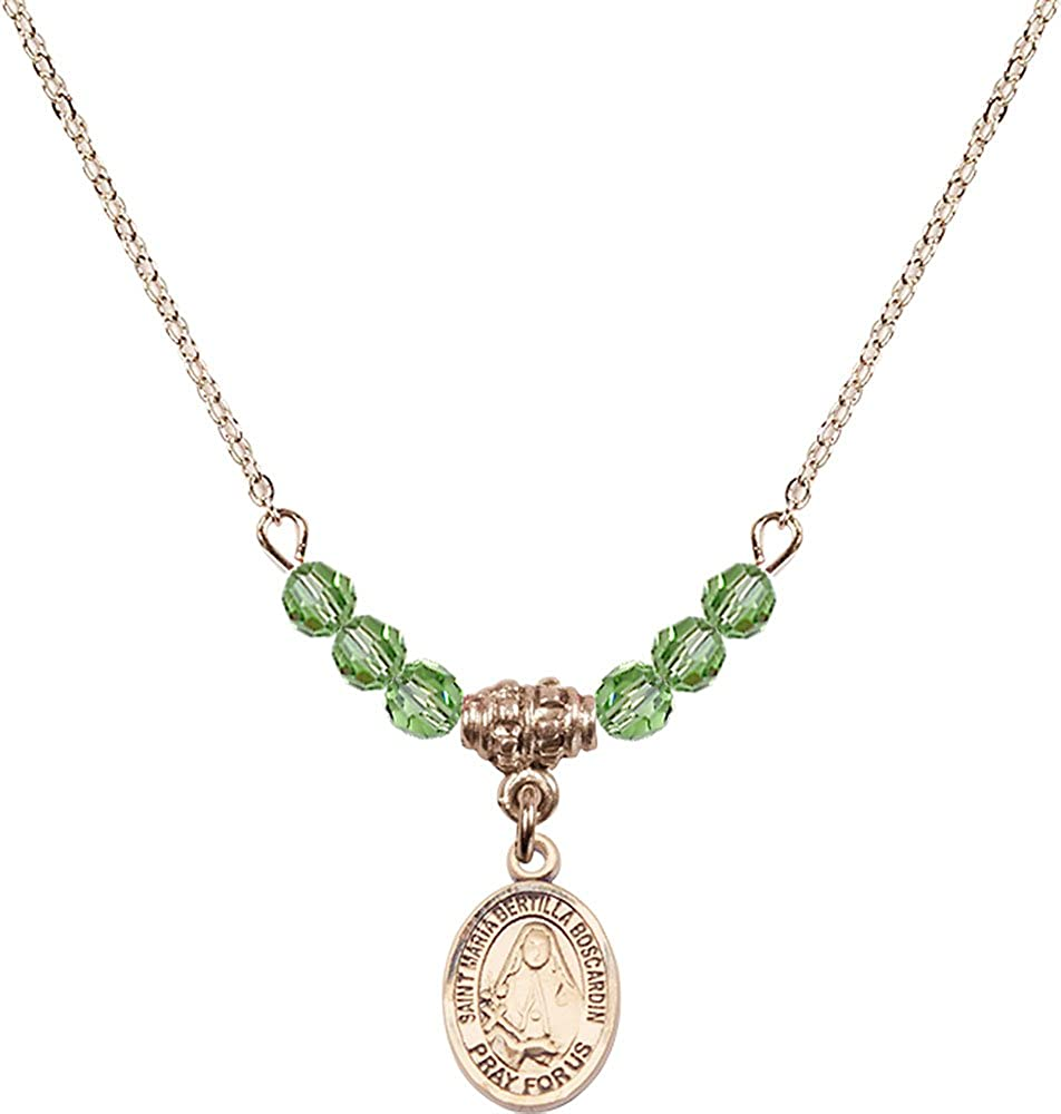 18-Inch Hamilton Gold Plated Necklace with 4mm Peridot Birthstone Beads and Gold Filled Saint Maria Bertilla Boscardin Charm.