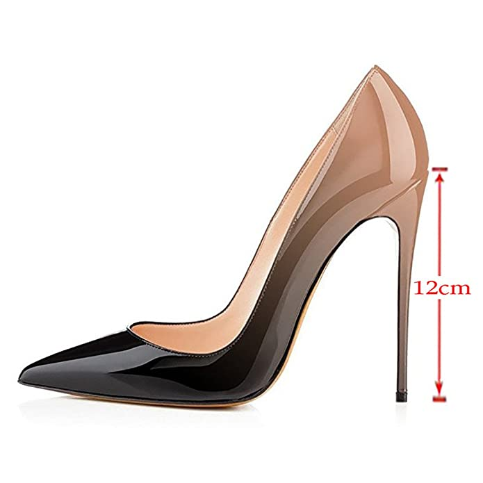 05f37d80b15 VOCOSI Pointy Toe Pumps for Women,Patent Gradient Animal Print High ...